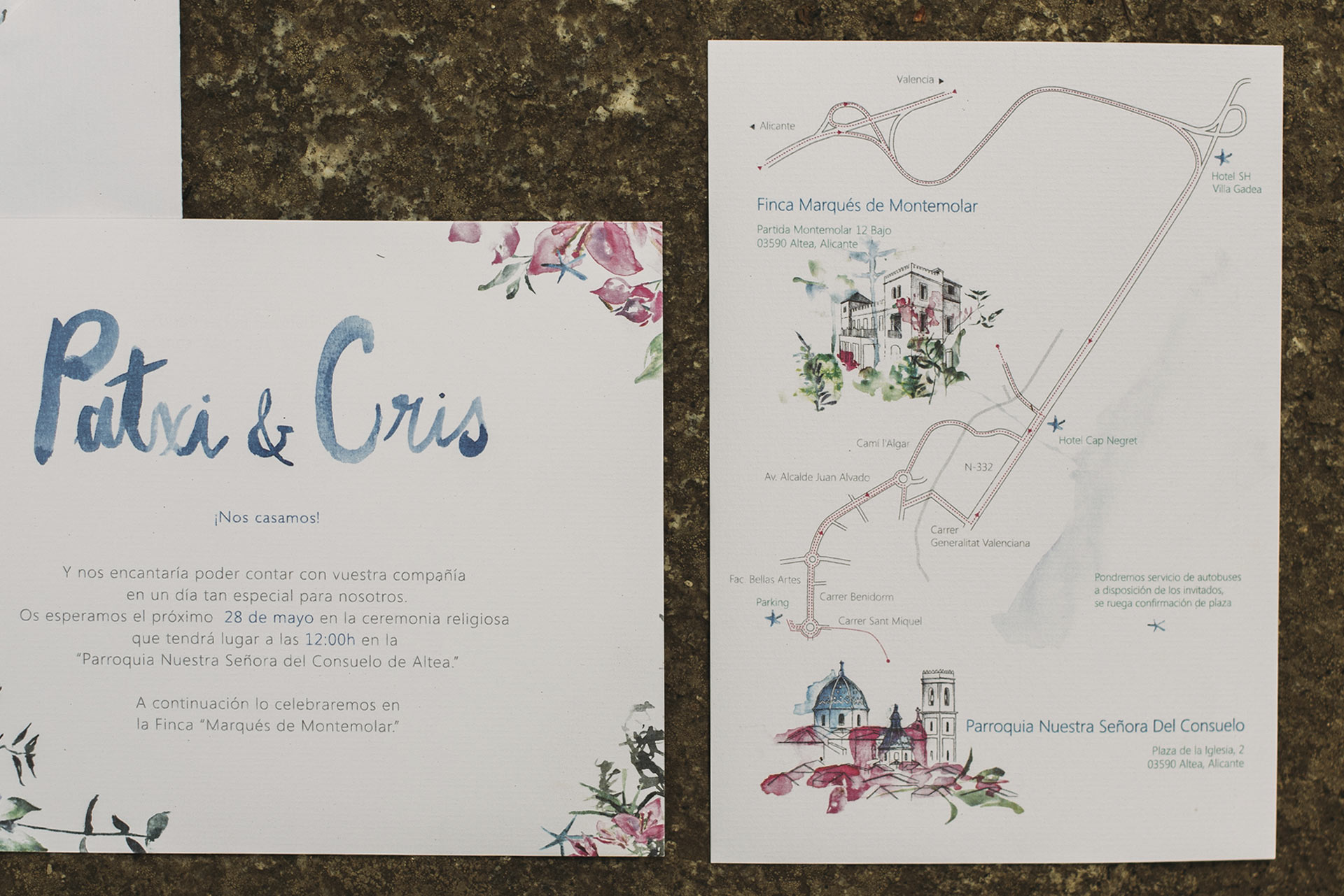 Wedding invitation with pines and bougainvillea