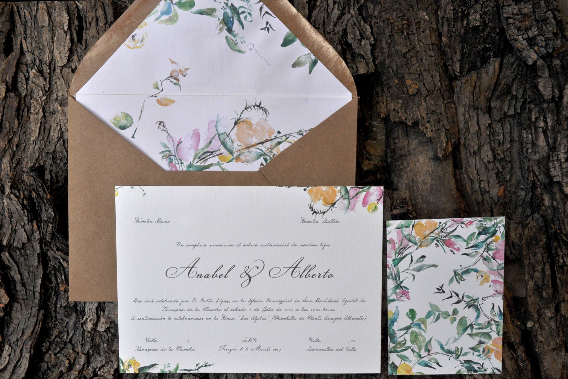 Classic wedding invitation with yellow