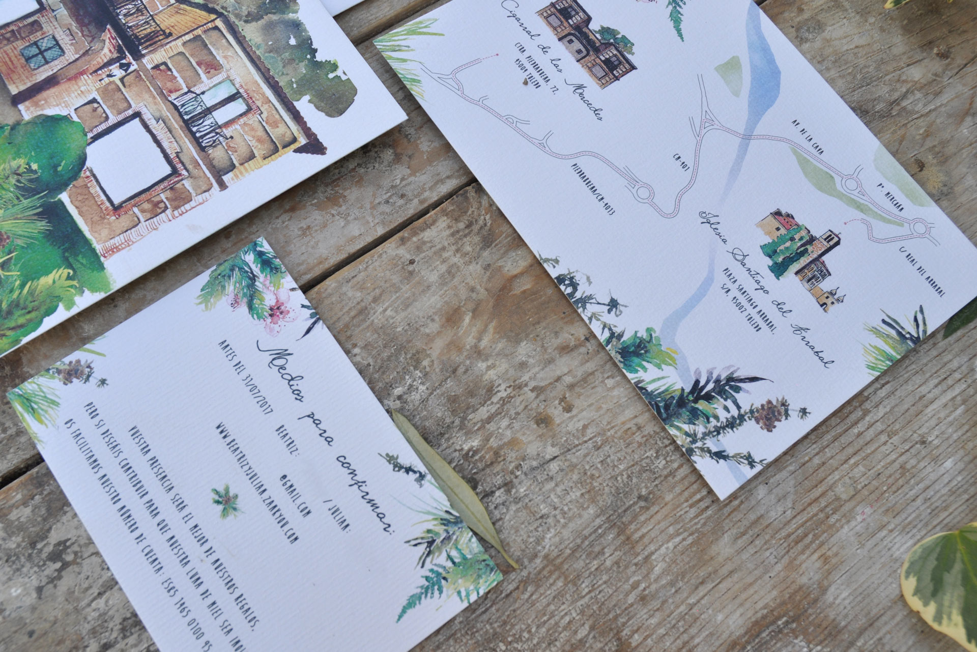 Wedding invitation illustrated in watercolor