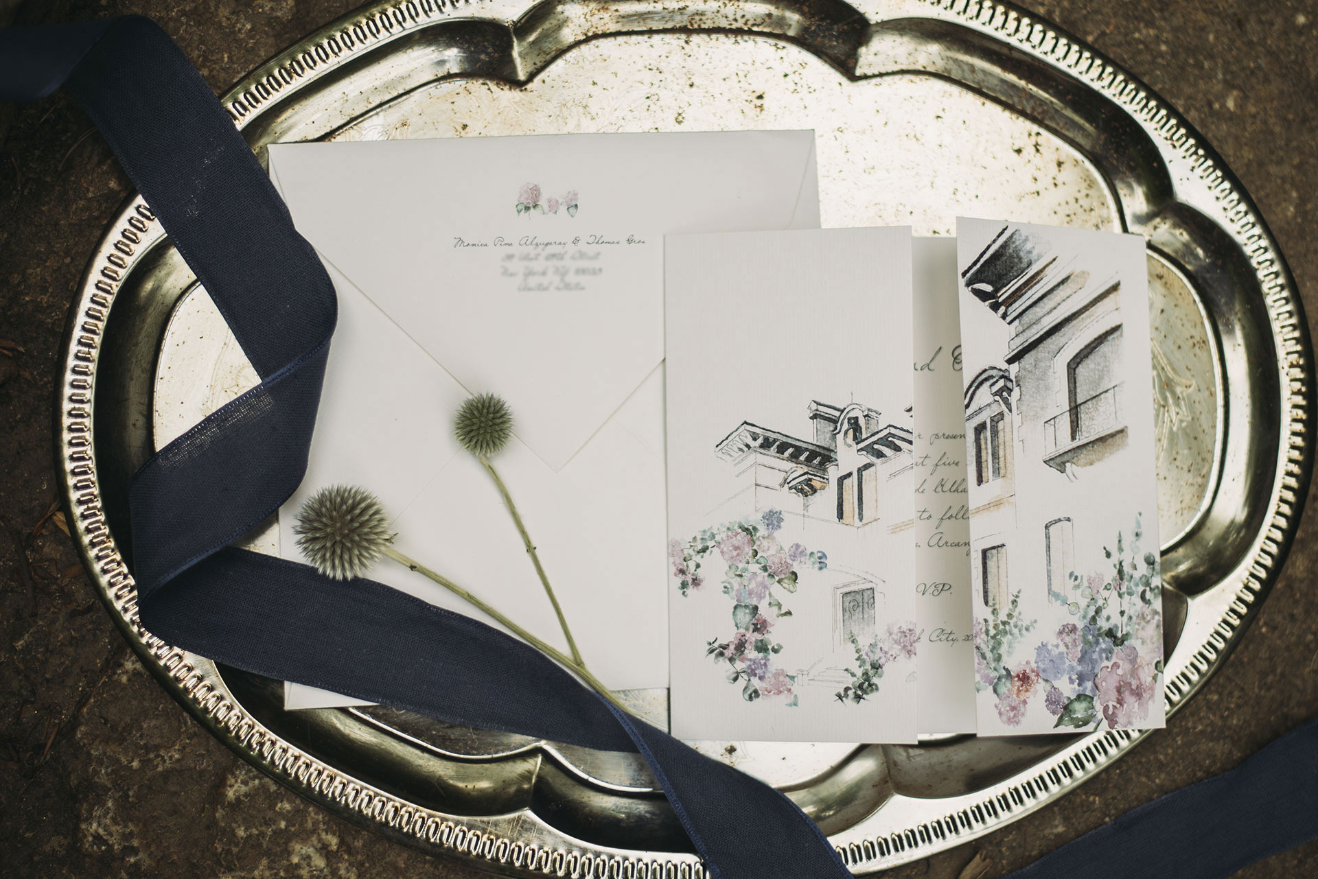 Invitation wedding with pencil and watercolor illustrations