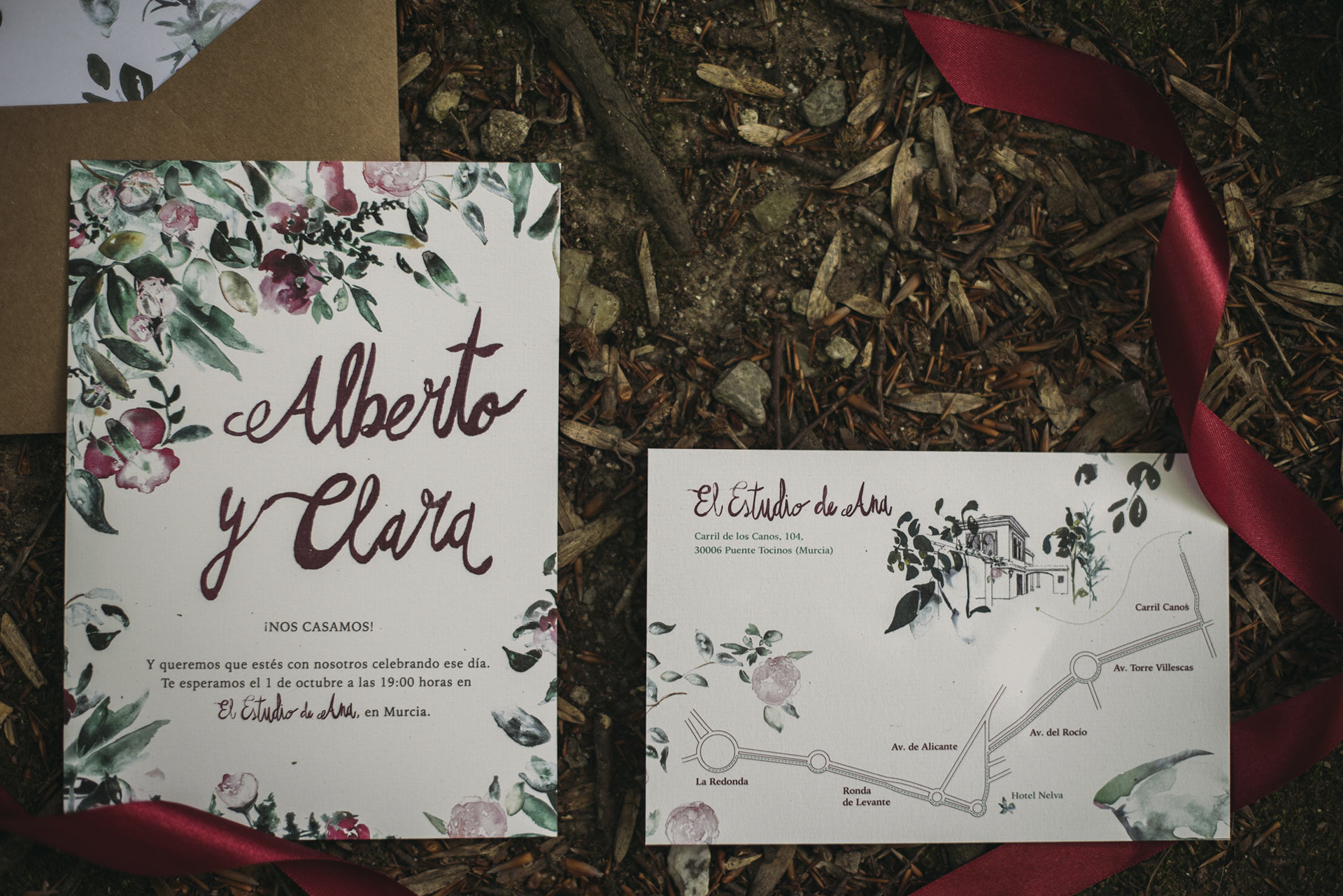 Bordeaux wedding invitation with watercolor calligraphy