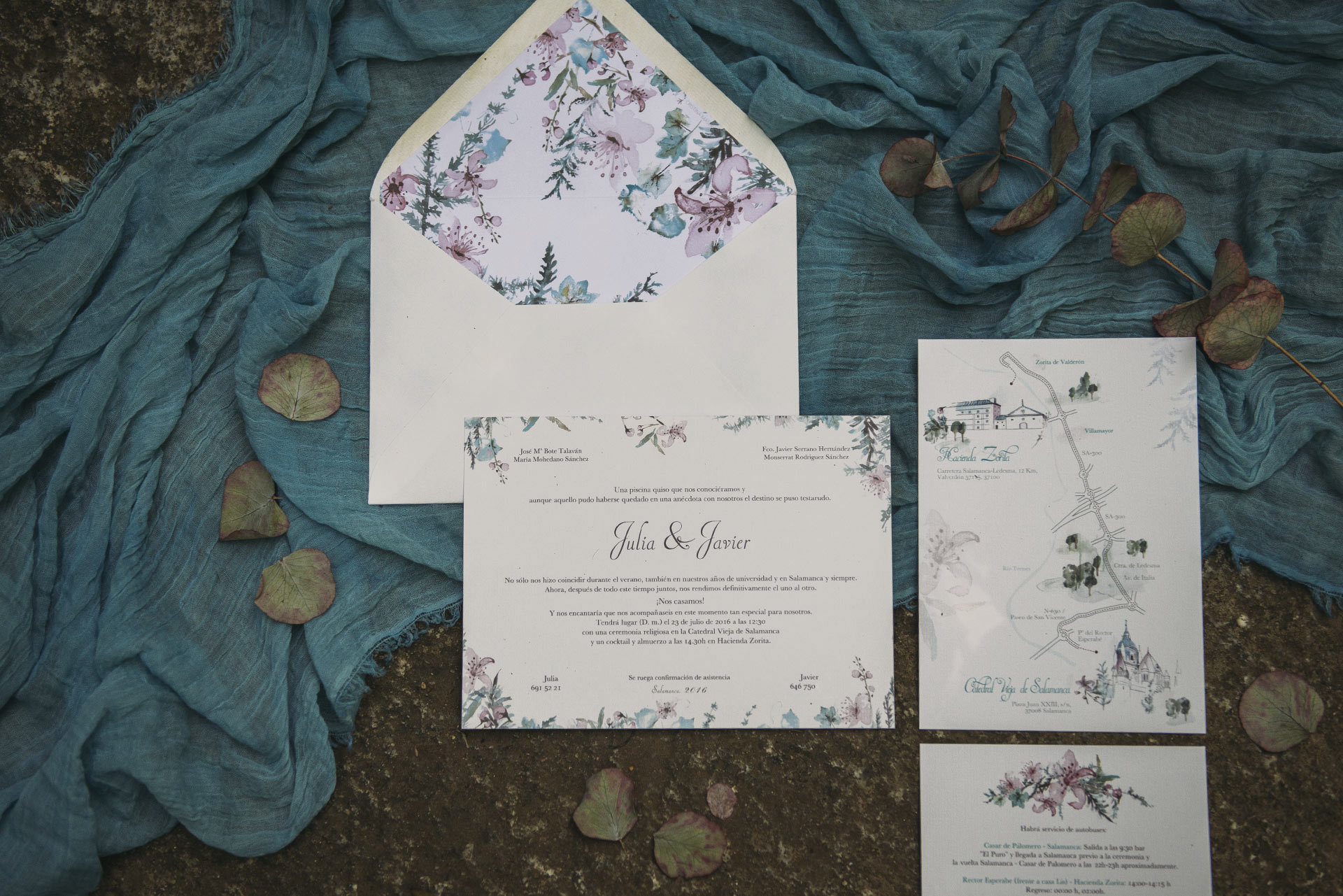 Wedding invitation of cherry trees with watercolor