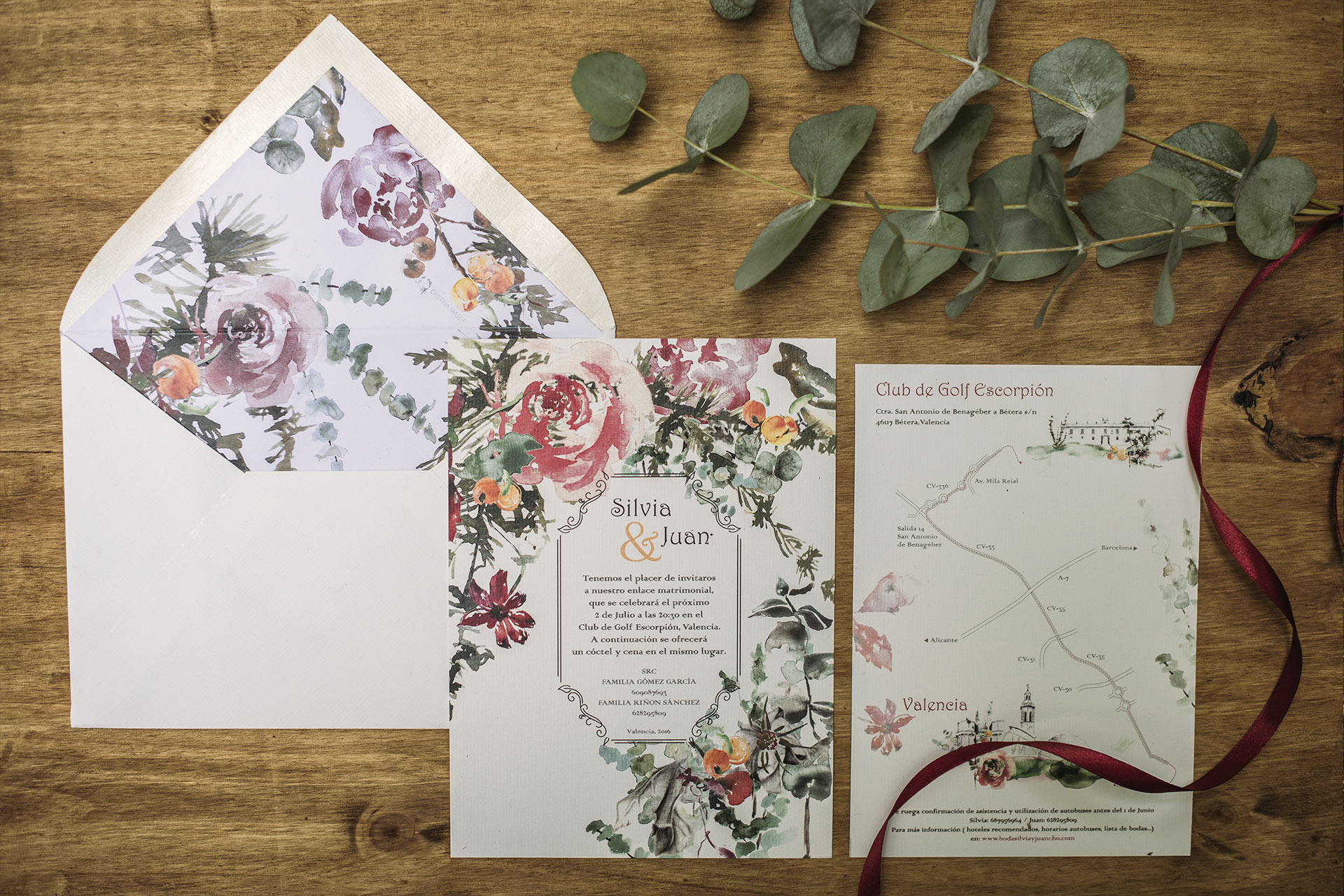 Wedding invitation with eucalyptus in watercolor
