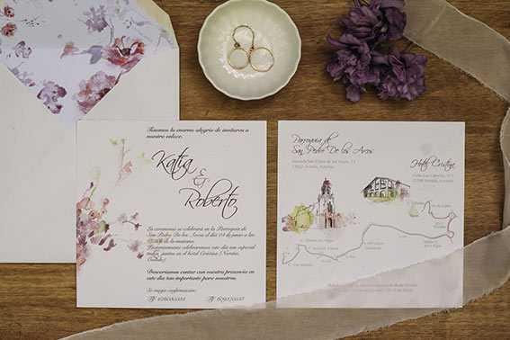 invitación de boda en acuarela